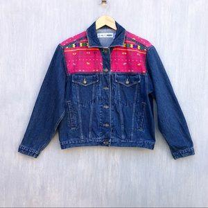 Vintage embroidered denim jacket S Aztec